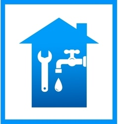 Icon with water tap and wrench vector