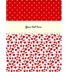 Card with cherries pattern vector