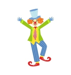 Colorful friendly clown with curled shoes in vector