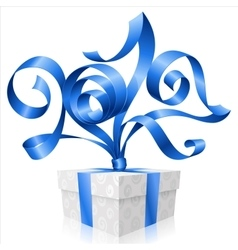 blue ribbon and gift box Symbol of New Year 2017 vector image