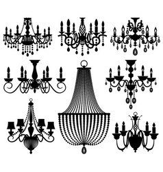 Vintage crystal chandeliers silhouettes vector