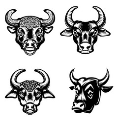 Set of bull heads icons on white background vector