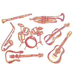 Music instruments doodles vector
