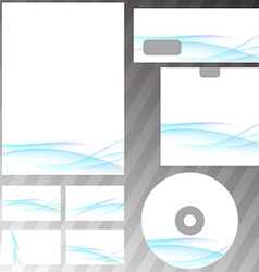 Blue swoosh wave corporate stationery set vector
