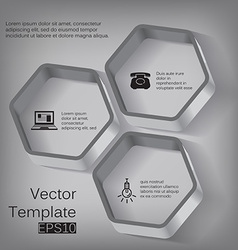 3d hexagon elements for infographic vector image vector image