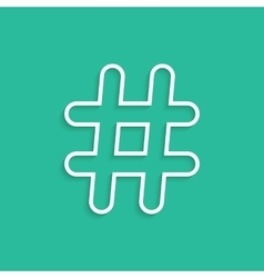 White hashtag icon isolated on green background vector