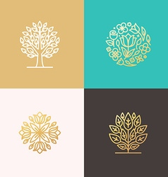 Florist and landscape designers logos vector image