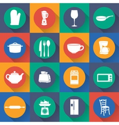 Set icon of kitchen in flat design vector