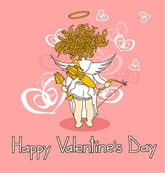 Card for valentines day with cupid vector