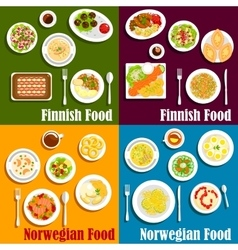 Finnish and norwegian seafood dishes icon vector