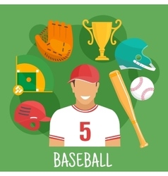 Baseball game icon with batter and sporting items vector
