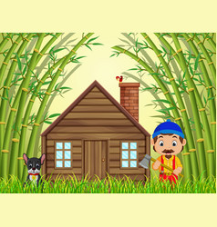 a bamboo forest with a happy lumberjack and dog vector image