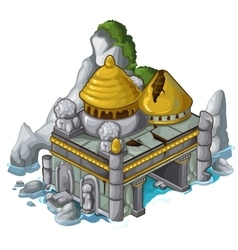 Ancient castle next to the rock and water vector image