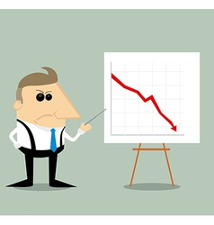 Angry Cartoon businessman with presentation graph vector image