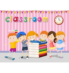 Boys and girls reading in the classroom vector image