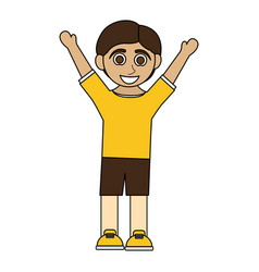 Colorful caricature boy with open arms up vector