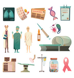 Defeat cancer orthogonal icons set vector