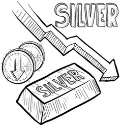 doodle currency silver decrease vector image vector image