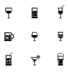drinking glasses icons set vector image vector image