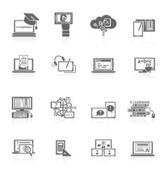 E-learning icon black vector