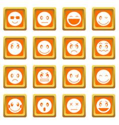 emoticon icons set orange vector image
