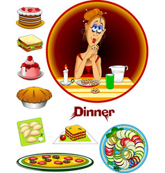 evening meal vector image vector image