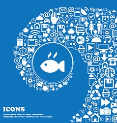 Fish dish icon sign nice set of beautiful icons vector