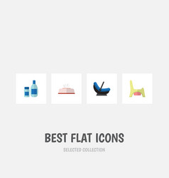 flat icon infant set of pram toilet cream with vector image vector image