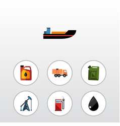 flat icon oil set of boat rig droplet and other vector image