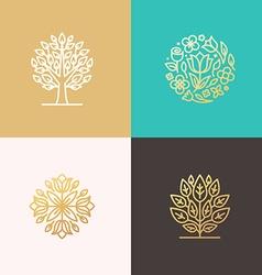Florist and landscape designers logos vector