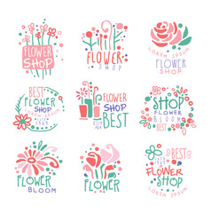 Flower shop set of logo templates colorful hand vector