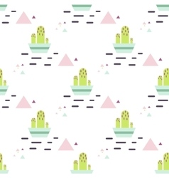 Green cactus in pot desert seamless pattern vector
