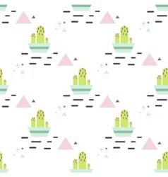 Green cactus in pot desert seamless pattern vector image vector image