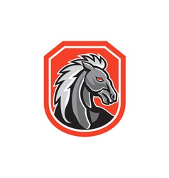 Horse head shield retro vector
