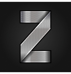 Letter metal chrome ribbon - z vector