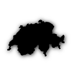 Map of switzerland with shadow vector