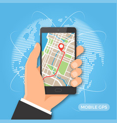 Mobile gps navigation and tracking concept vector