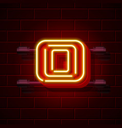 Neon city font letter o signboard vector