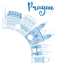 Outline prague skyline with blue landmarks vector