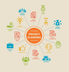 project planning concept with icons vector image vector image