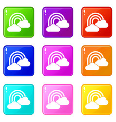 rainbow and clouds icons 9 set vector image