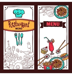 Restaurant menu food banners set vector image