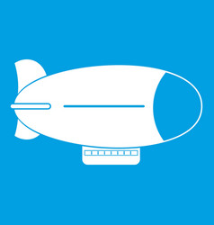 Retro airship icon white vector