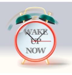 Retro alarm clock with inscription Wake up now vector image
