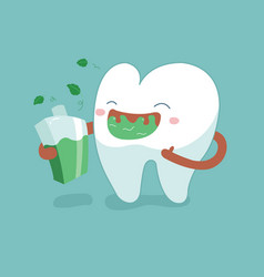 Rinse your mouth out tooth concept of dental vector
