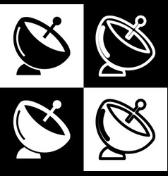 Satellite dish sign black and white icons vector