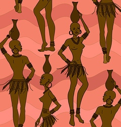 Seamless pattern of African seminude girls vector image vector image