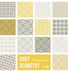 Set of 12 tiles with geometric patterns vector image