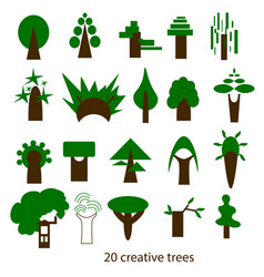 set of creative trees icons vector image