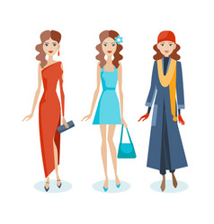 set of girls in dresses sarafans autumn clothes vector image vector image